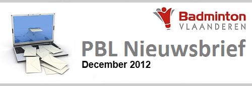 Nieuwsbrief PBL december 2012